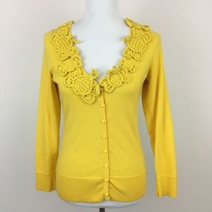 Anthropologie Moth Abuzz Bee Yellow Cardigan Small